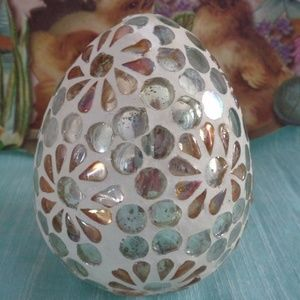Other - SHABBY CHIC GLASS EASTER SPRING EGG INLAID